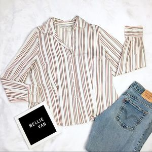 Tops - Casual Formal Button Down Striped Long Sleeve